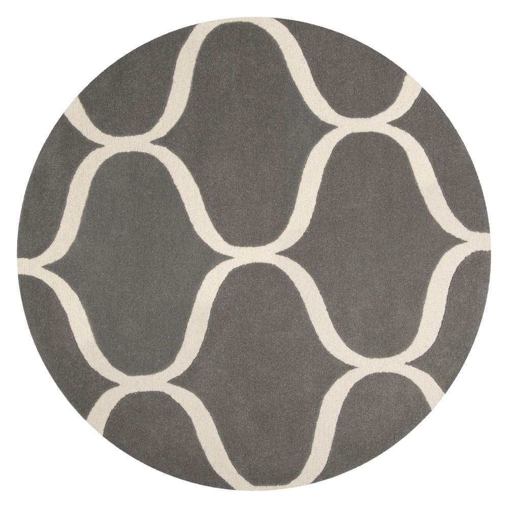 6 Geometric Tufted Round Area Rug Dark Gray/Ivory - Safavieh Discounts