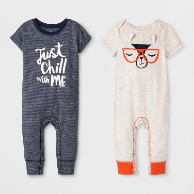 Baby Boys' 2pk Short Sleeve  Just Chill  and Critter Rompers - Cat & Jack™ Oatmeal 3-6M