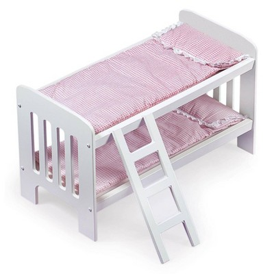 Badger Basket Doll Bunk Bed with Bedding, Ladder, and Free Personalization Kit - White/Pink/Gingham