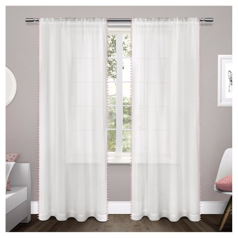 Pom Pom Sheer Curtain Panel Set - Exclusive Home - image 1 of 4