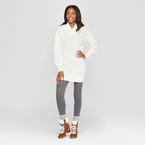 Women's Long Sleeve Cowl Neck Sweater Dress - Almost Famous (Juniors') Ivory - image 1 of 2