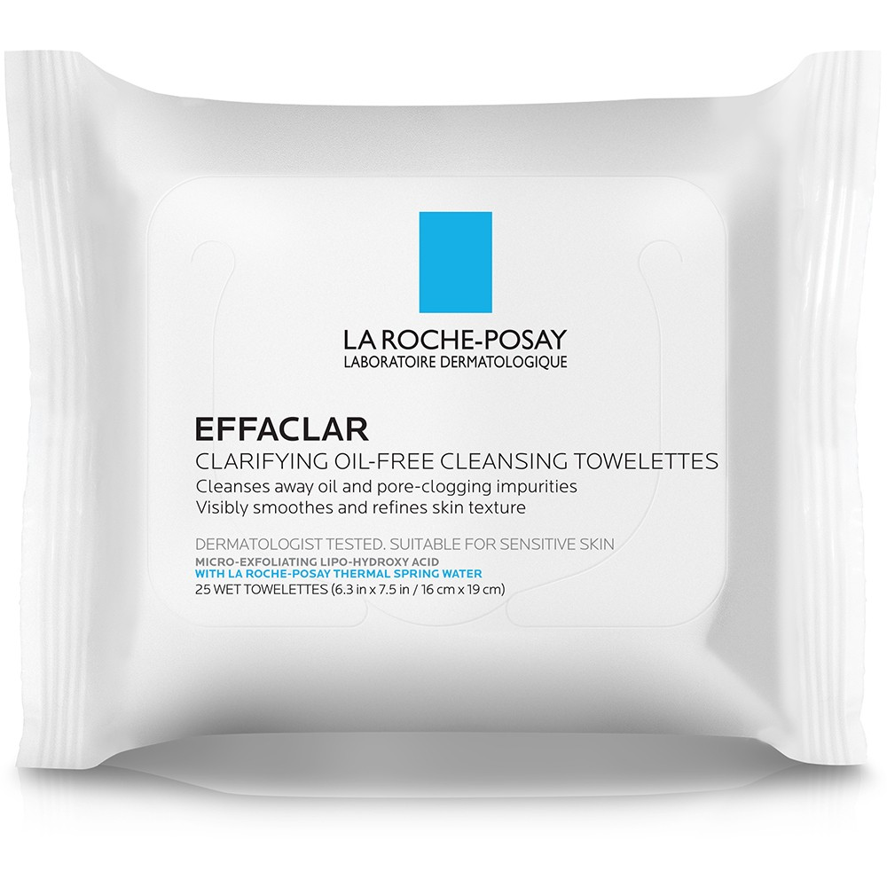 Unscented La Roche-Posay Effaclar Clarifying Oil-Free Cleansing Towelettes for Oily Skin Face Wipes - 25ct