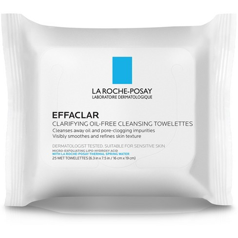 Unscented La Roche-Posay Effaclar Clarifying Oil-Free Cleansing Towelettes for Oily Skin Face Wipes - 25ct - image 1 of 2