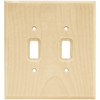 Franklin Brass Square Double Switch Wall Plate Unfinished Wood Brown