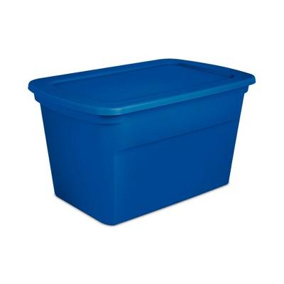 Sterilite 30 Gallon Plastic Stackable Storage Tote Container Box, Blue (24 Pack)