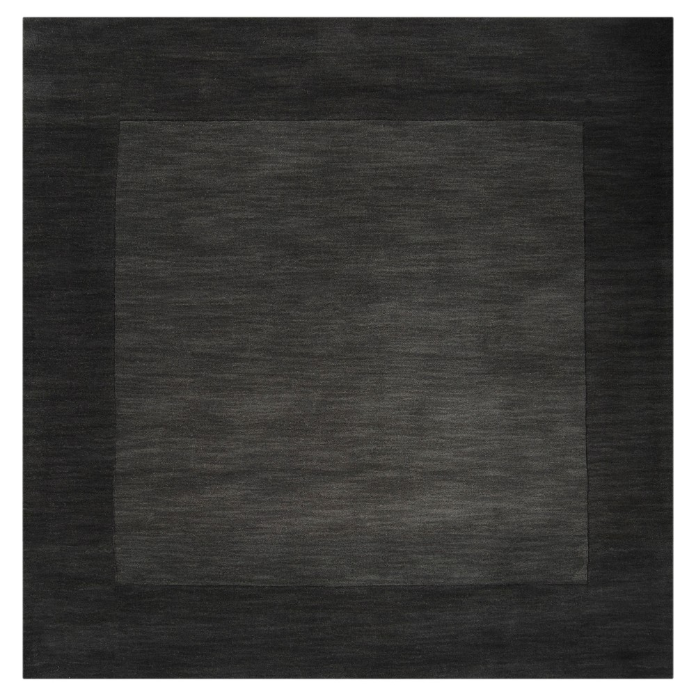 Charcoal (Grey) Solid Loomed Square Area Rug (8'x8') - Surya