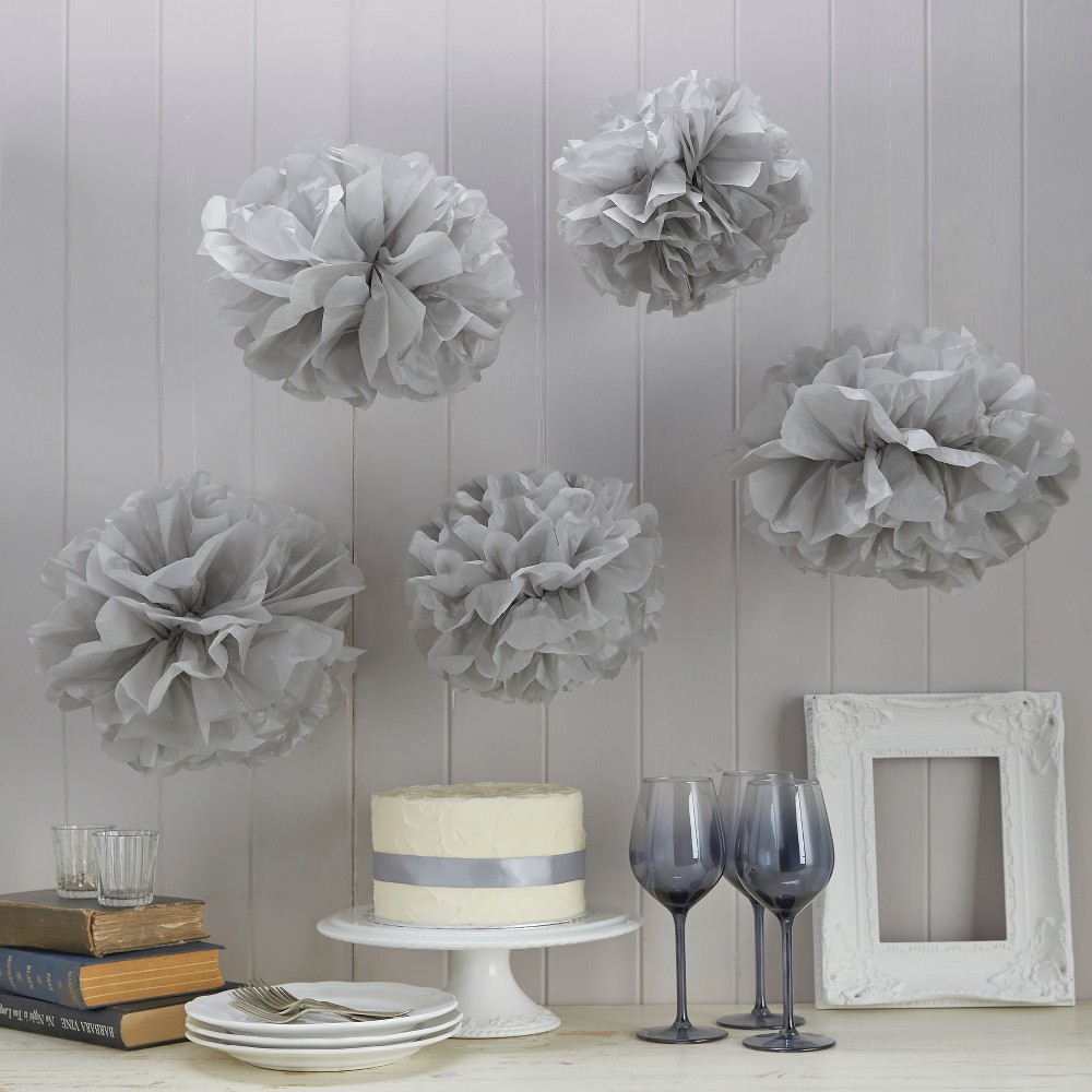 Image of 5ct Vintage Lace Pom Pom Tissue Paper Grey, Gray
