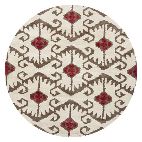 7 Tribal Design Tufted Round Area Rug Ivory Brown Safavieh Target