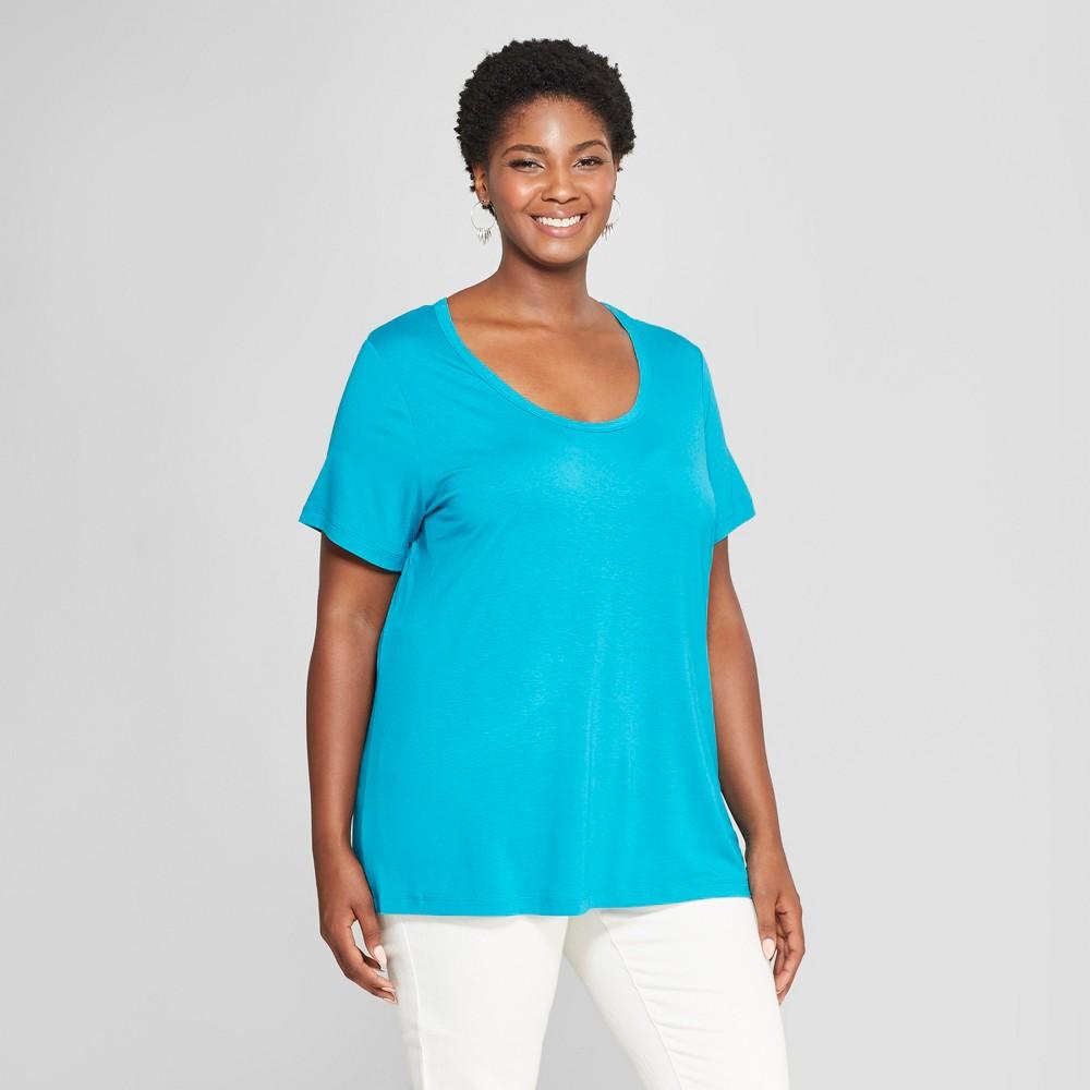 Women's Plus Size Perfect Short Sleeve T-Shirt - Ava & Viv Turquoise 3X