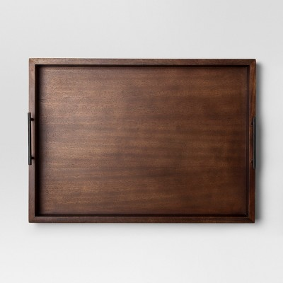 Wood Tray with Metal Handles Extra Large - Walnut - Project 62™