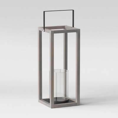 """20"""" Large Wood and Glass Outdoor Lantern Gray - Threshold™"""