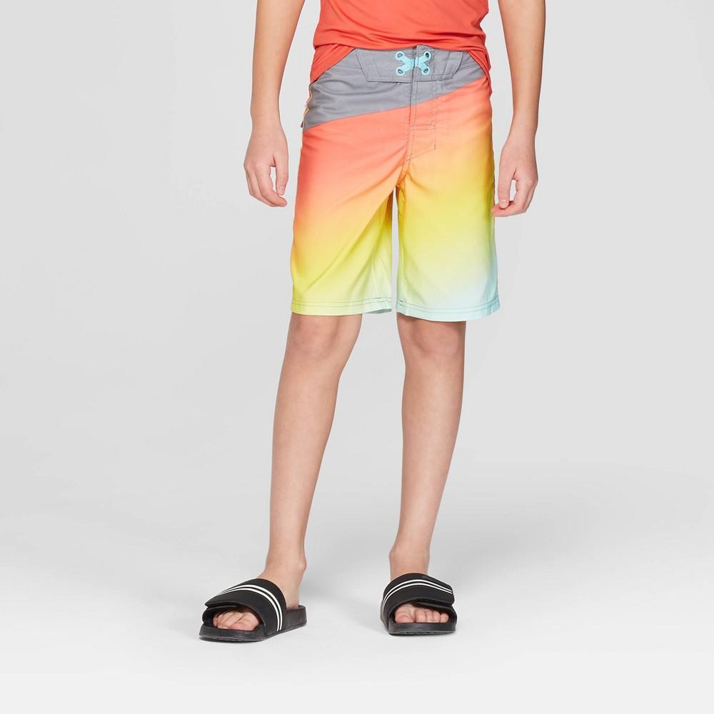Boys' Diagonal Ombre Swim Shorts - art class Gray/Orange 18