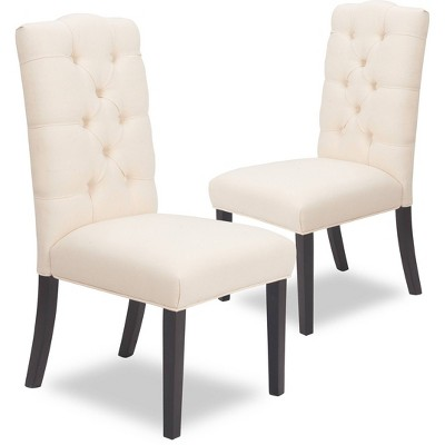 Set of 2 Provence Tufted Dining Chairs Beige - Finch
