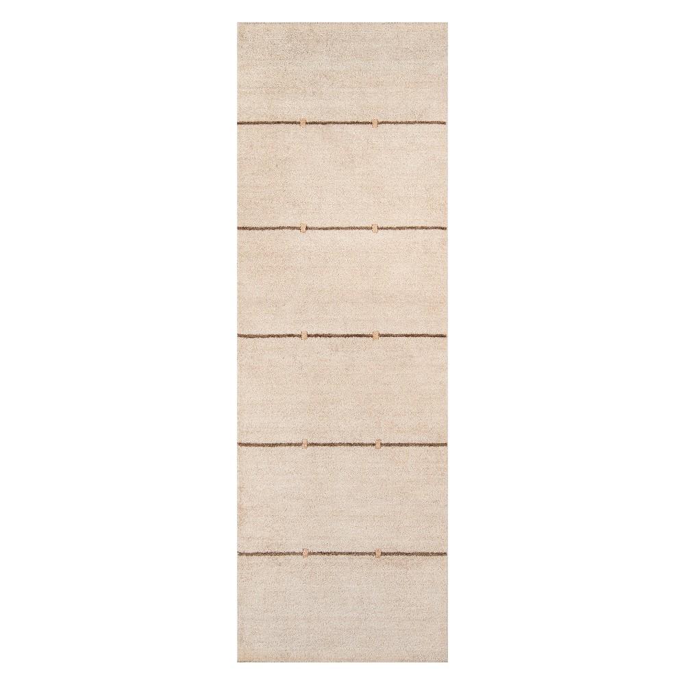 2'6X8' Stripe Loomed Runner Sand - Momeni, White