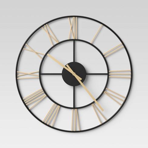 Decorative Wall Clock - Gold/Black - Threshold™ - image 1 of 2