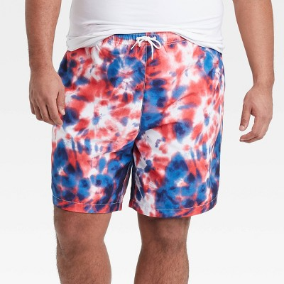 "Men's Big & Tall 8.5"" Americana Swim Trunks - White"