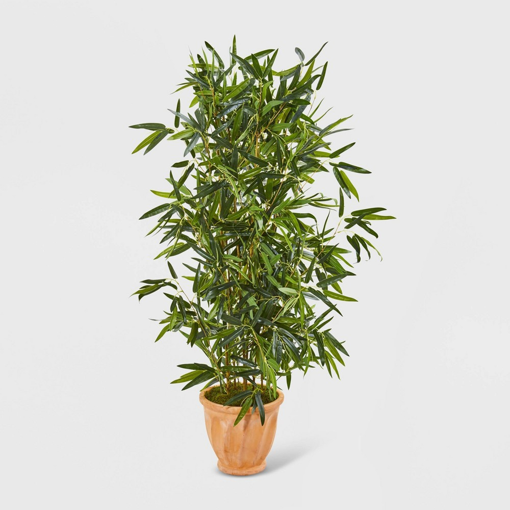 4.5ft Artificial Bamboo Tree Terra Cotta Planter Real Touch UV Resistant - Nearly Natural, Green