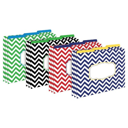 "Barker Creek File Folders, Multi Design, 9.5"" x 12"", 12ct - Chevron Nautical - image 1 of 4"
