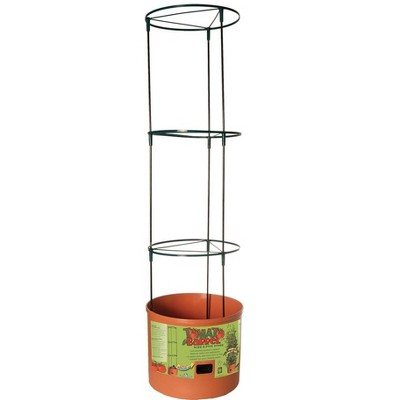 Hydrofarm GCTB Tomato Barrel Pot Garden Planting System and 4 Foot Trellis Tower