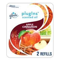 Glade Plugins Scented Oil Refill - Essential Oil Infused Wall Plug In - Up To 50 Days Of Continuous Fragrance - Apple Cinnamon - 1.34oz/2ct