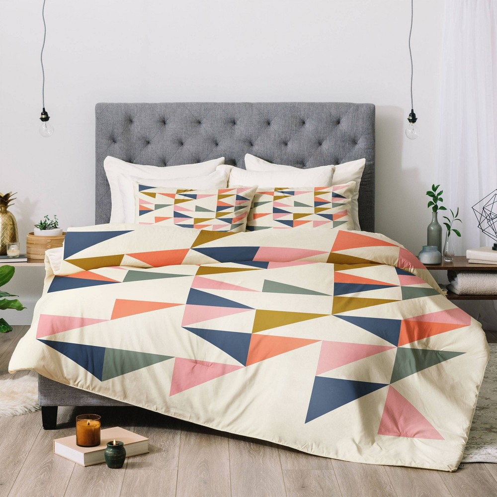 Twin Extra Long June Journal Floating Triangles Comforter Set Deny Designs