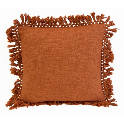 "20""x20"" Oversize Simone Cotton Fringe Trim Square Throw Pillow - Décor Therapy"