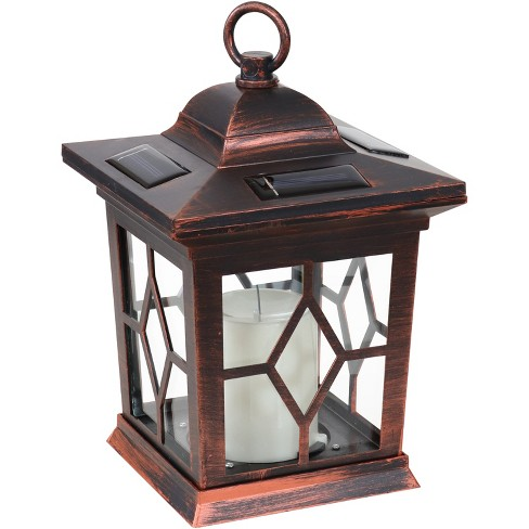 """Sunnydaze Outdoor Lucien Hanging Tabletop Solar LED Rustic Farmhouse Decorative Candle Lantern - 9"""" - Copper - image 1 of 4"""