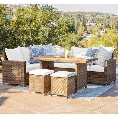 Milano 5pc Outdoor Wicker Sofa Dining Set - Brown - Coaster