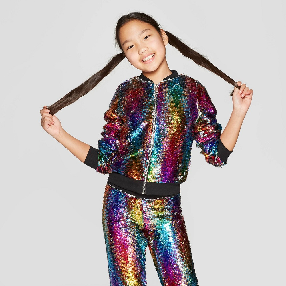 Girls' Nickelodeon JoJo's Closet Flip Sequin Rainbow Bomber Jacket - XS, Multicolored
