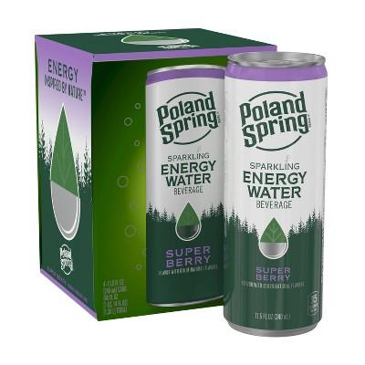 Poland Spring Super Berry Energy Water - 4pk/11.15 fl oz Sleek Can