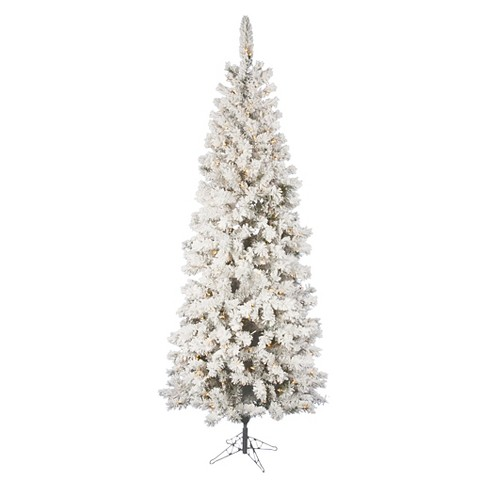 6.5ft Pre-Lit Slim Artificial Christmas Tree Flocked Pacific White - Clear  Lights : Target - 6.5ft Pre-Lit Slim Artificial Christmas Tree Flocked Pacific White