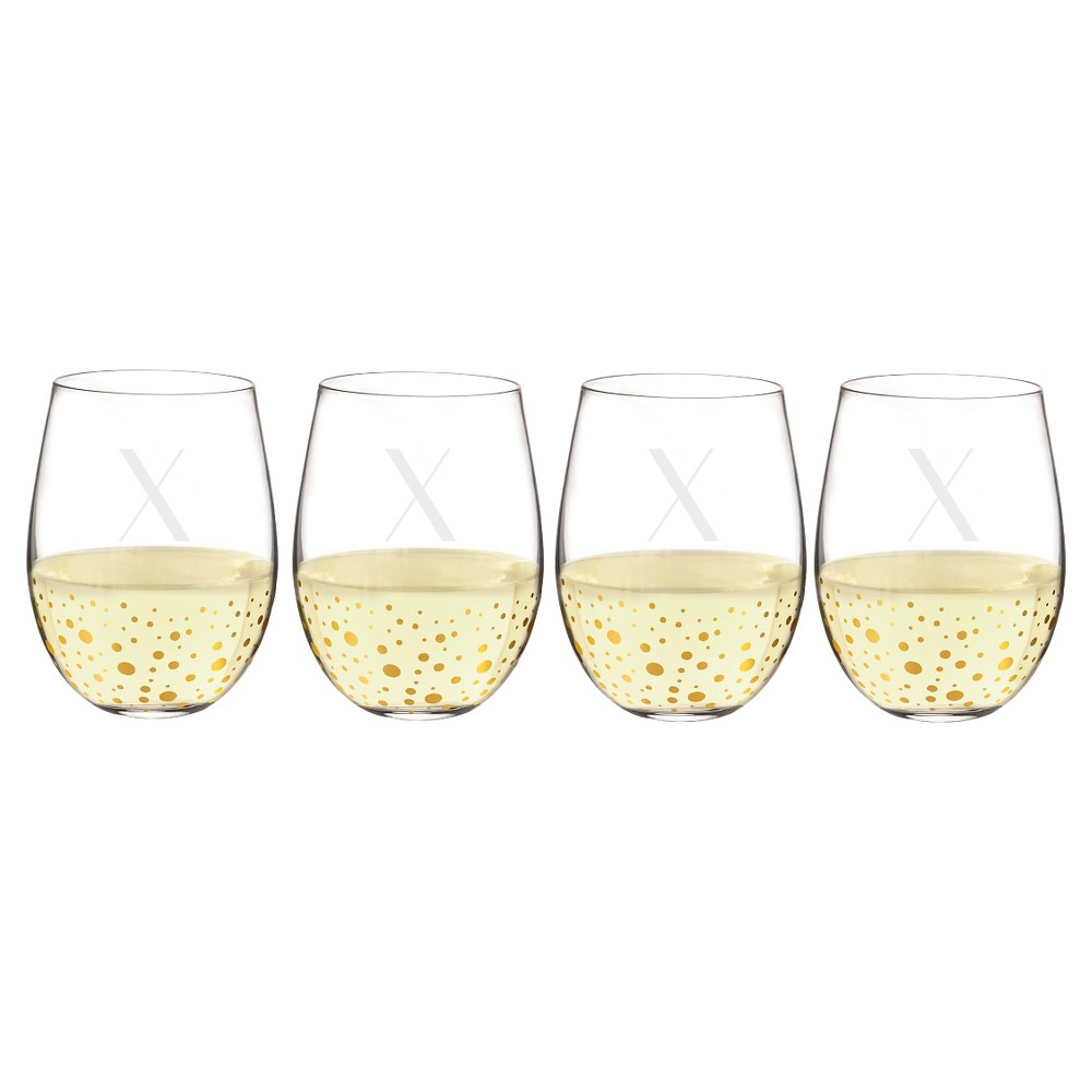 Cathy's Concepts 19.25oz Monogram Gold Dots Stemless Wine Glasses X - Set of 4, Clear Gold