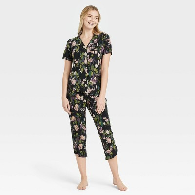 Women's Floral Print Beautifully Soft Crop Notch Collar Top and Pants Pajama Set - Stars Above™ Black