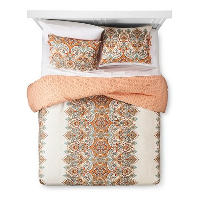 Anya Duvet Cover and Sham Set (King)Orange 3 Piece - Mudhut