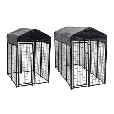 Lucky Dog Uptown Covered Dog Kennel with Lucky Dog Wire Dog Fence Pet Kennel