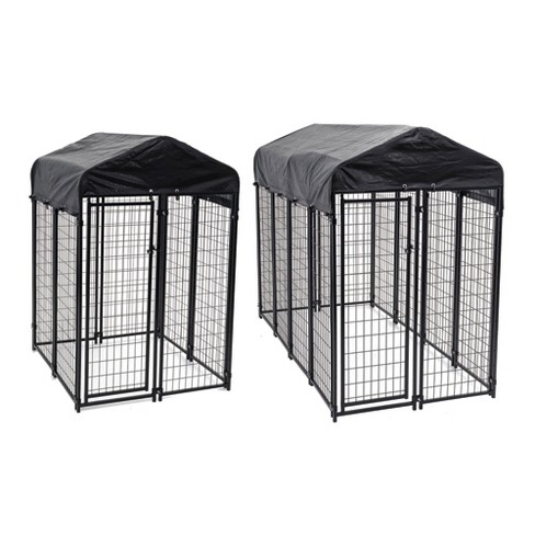 Lucky Dog Uptown Covered Dog Kennel with Lucky Dog Wire Dog Fence Pet Kennel - image 1 of 4