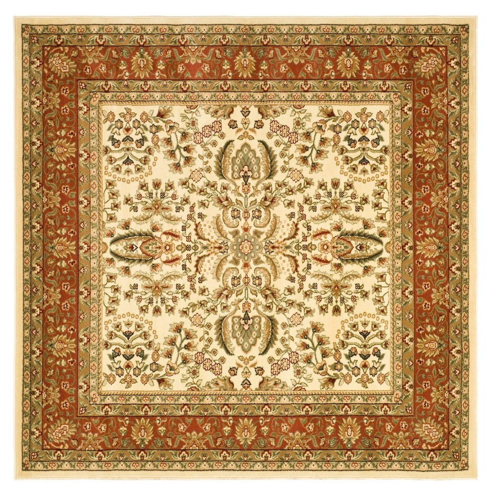 Deep Red Floral Loomed Square Area Rug 8'X8' - Safavieh, Ivory/Red
