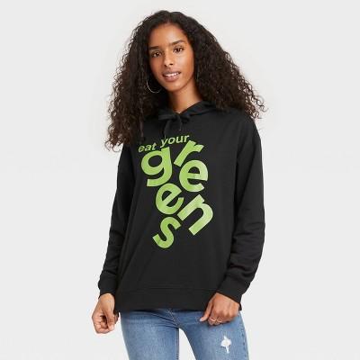 Black History Month Women's 'Eat Your Greens' Hooded Sweatshirt - Black