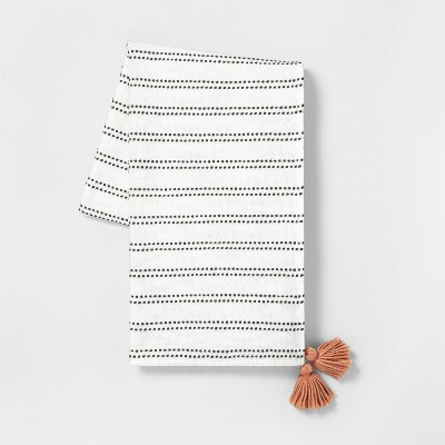 Stripe Tassel Throw Blanket Sour Cream / Dark Gray with Pink Tassels - Hearth & Hand™ with Magnolia