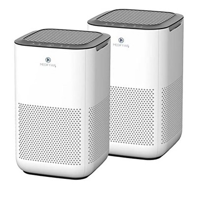 Medify Air MA-15-W2 Compact Home Dorm Office Air Purifier Machine with True H13 HEPA Filter Removes 0.10 Micron Dust Pollen Particles, White (2 Pack)