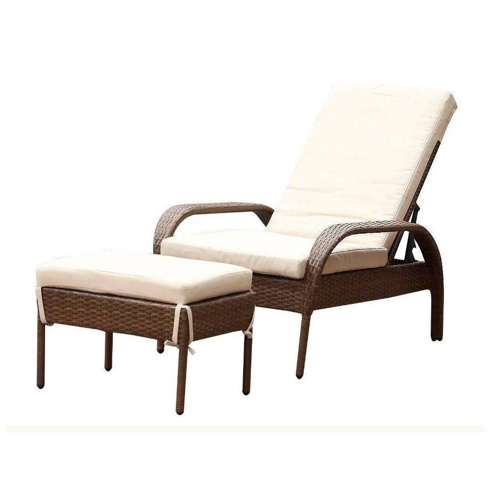 Image of 2pc Manchester Wicker Patio Chaise Lounge w/ Ottoman Brown - Abbyson Living