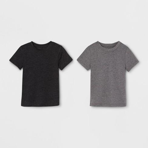 4d529139eb09 Toddler Boys' 2pk Short Sleeve T-Shirt - Cat & Jack™ Heather Gray/Dark Gray
