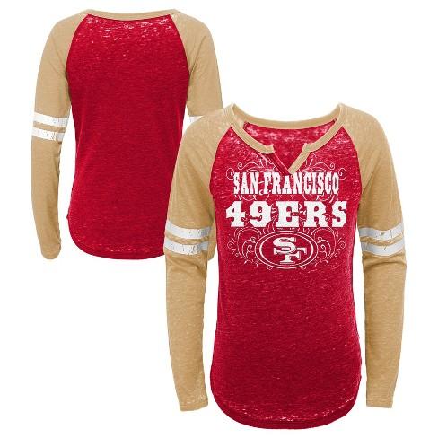 64060ac28 NFL San Francisco 49ers Girls  Fashion Team Alt Color Burnout Long Sleeve T- Shirt. Shop all NFL