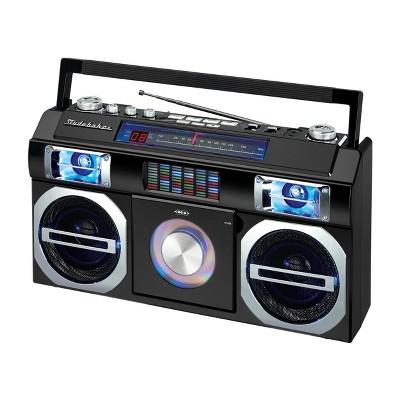 Studebaker 80's Retro Street Bluetooth Boombox with FM Radio, CD Player, LED EQ (SB2145)- Black