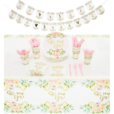 Sparkle and Bash 146-Piece Serves 24 Bridal Party Supplies - Plates, Napkins, Cups, Cutlery, Banner & Tablecloth