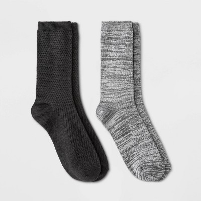 Warm Essentials by Cuddl Duds Women's Lightweight Spacedye Diagonal Ribbed 2pk Crew Socks - 4-10