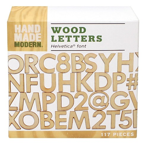 hand made modern wooden letters helvetica