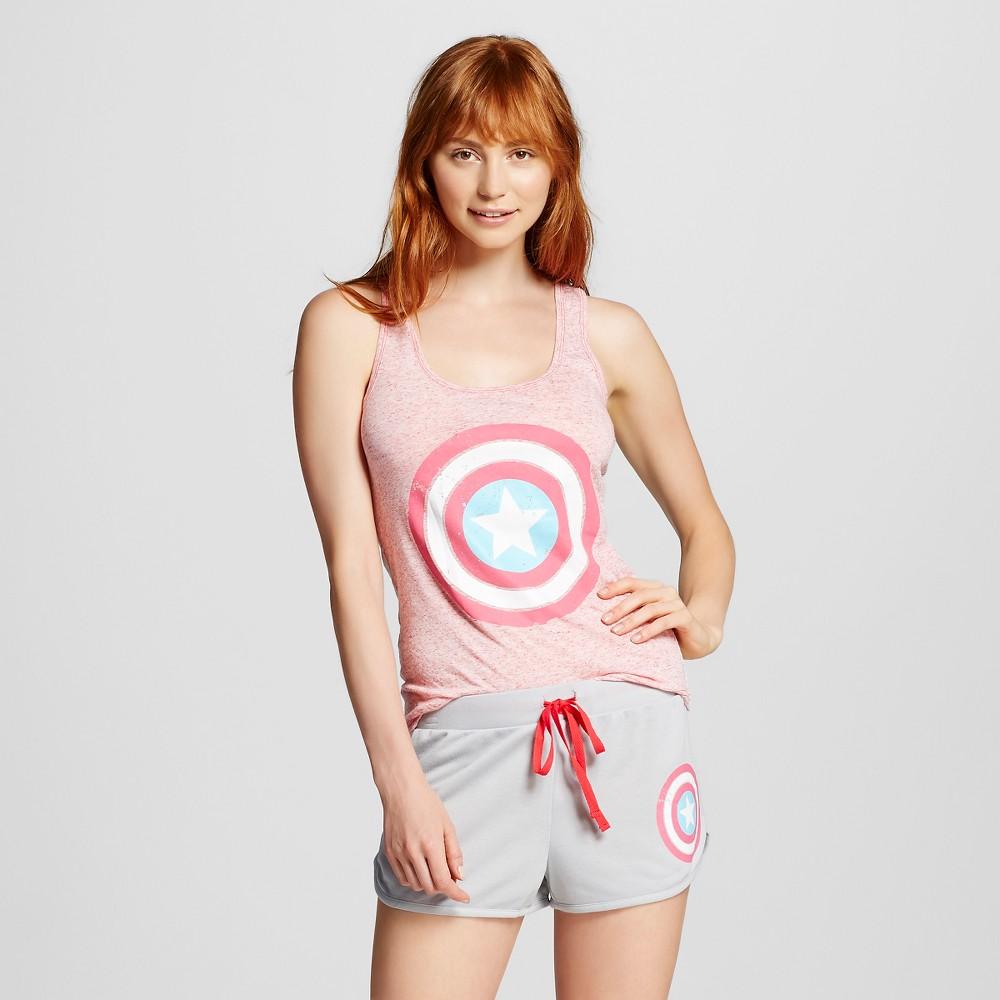Women's Marvel Captain America Shorts Pajama Set - Gray M