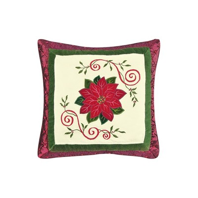 """C&F Home 16"""" x 16"""" Red Poinsettia Quilted Pillow"""