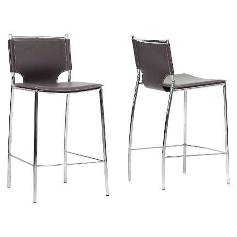 Montclare Modern and Contemporary Bonded Leather Upholstered Modern Counter Stool - Brown (Set of 2) - Baxton Studio - image 1 of 3